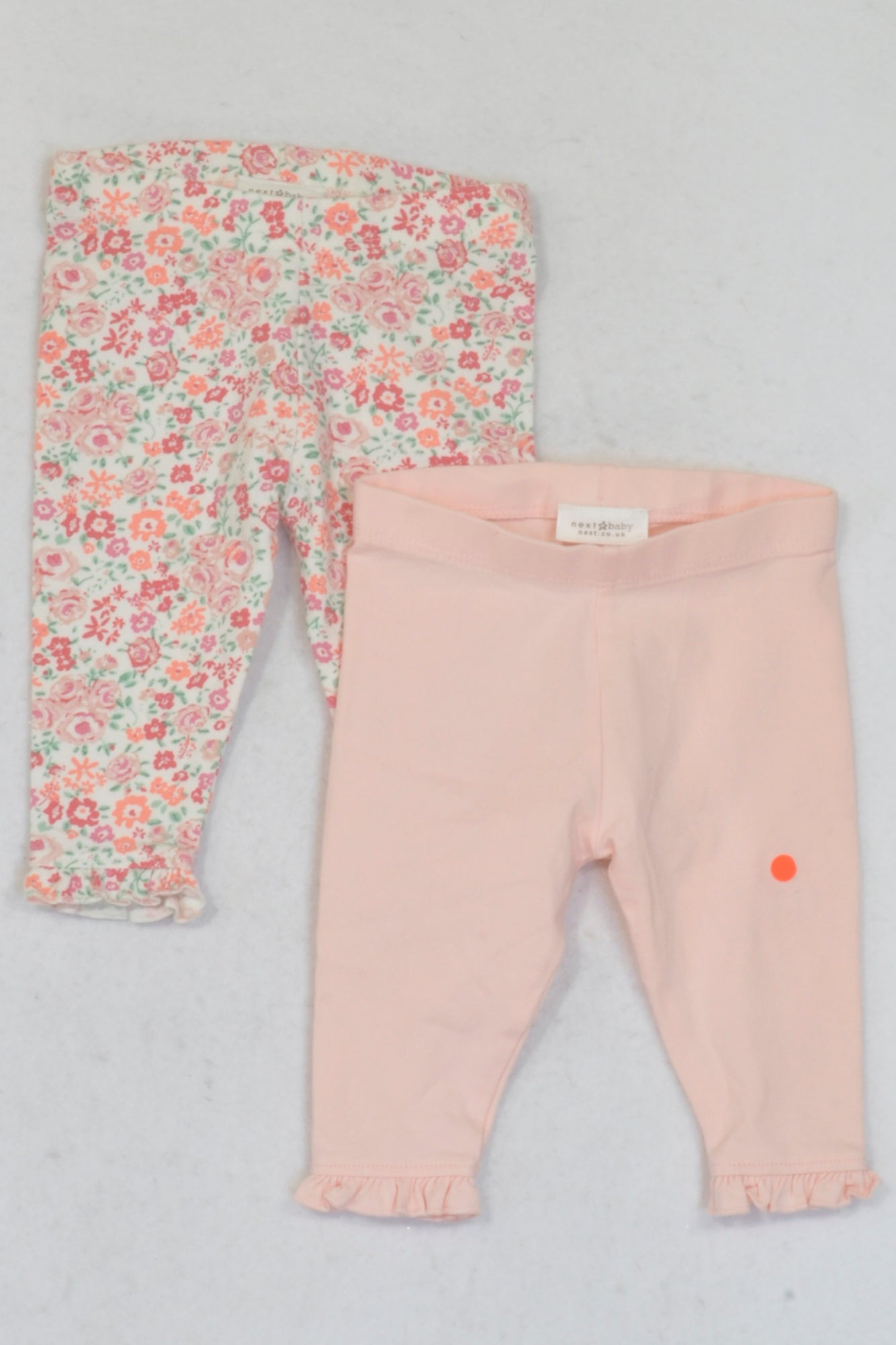 Next Rose Pink & Floral 2 Pack Leggings Girls N-B