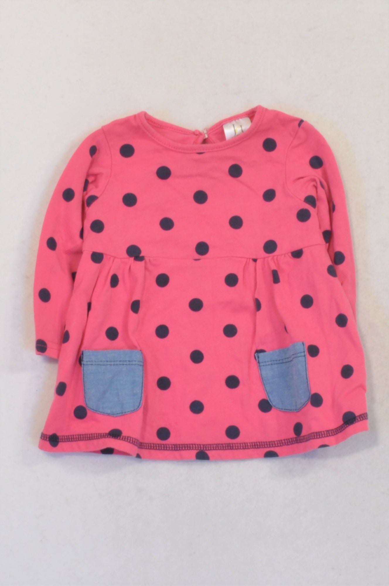 Jet Cerise Pink Navy Dotty Pocket Detail Dress Girls 3-6 months