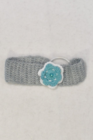 Grey Headband with Teal Flower Girls 3-6 months