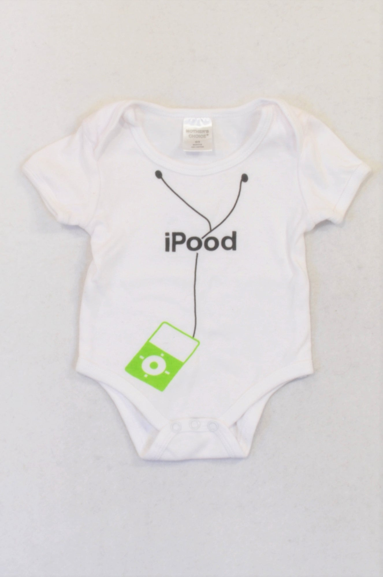 Mother's Choice White Ipood Baby Grow Unisex 0-3 months