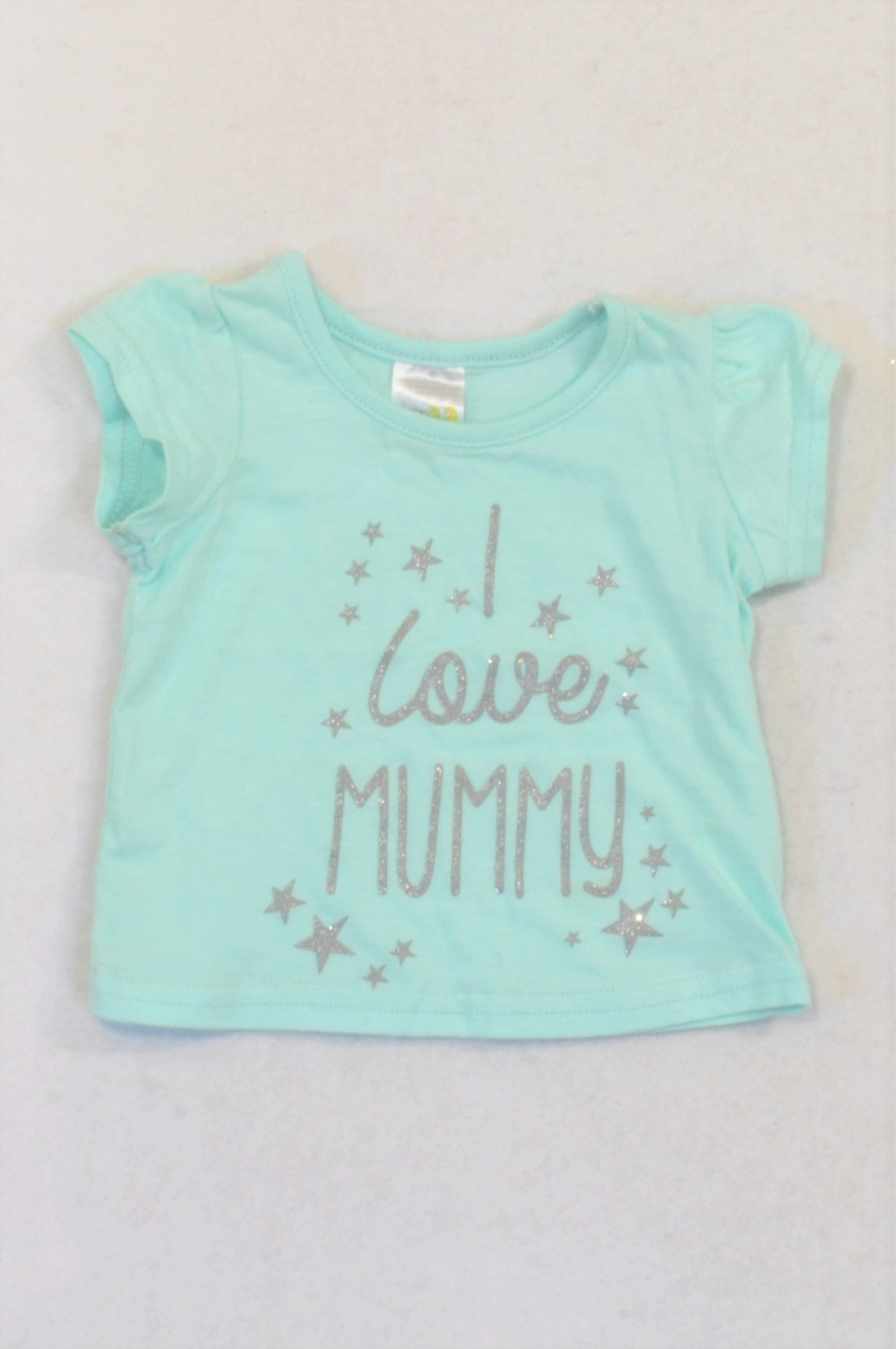 Edgars Aqua Silver Star Love Mummy T-shirt Girls 0-3 months