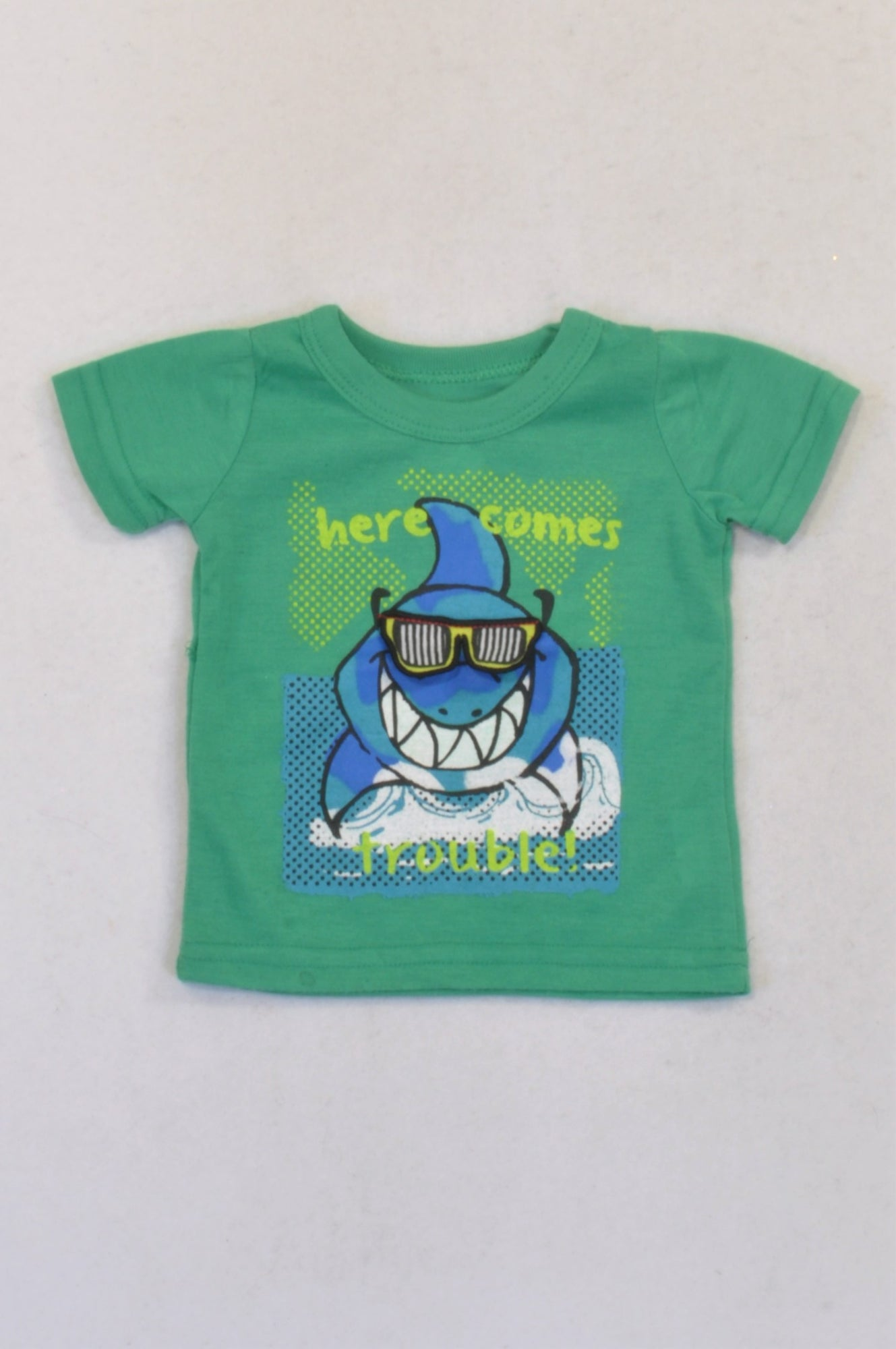 New Pep Green Shark Trouble T-shirt Boys 0-3 months