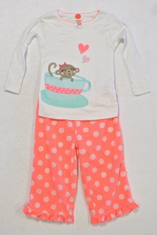 Carters Monkey in a Tea Cup Outfit Girls 12-18 months