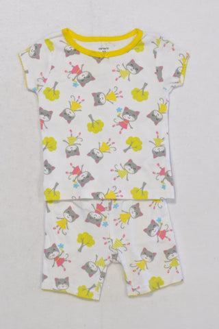Carters Kitty Short Pyjamas Girls 6-12 months