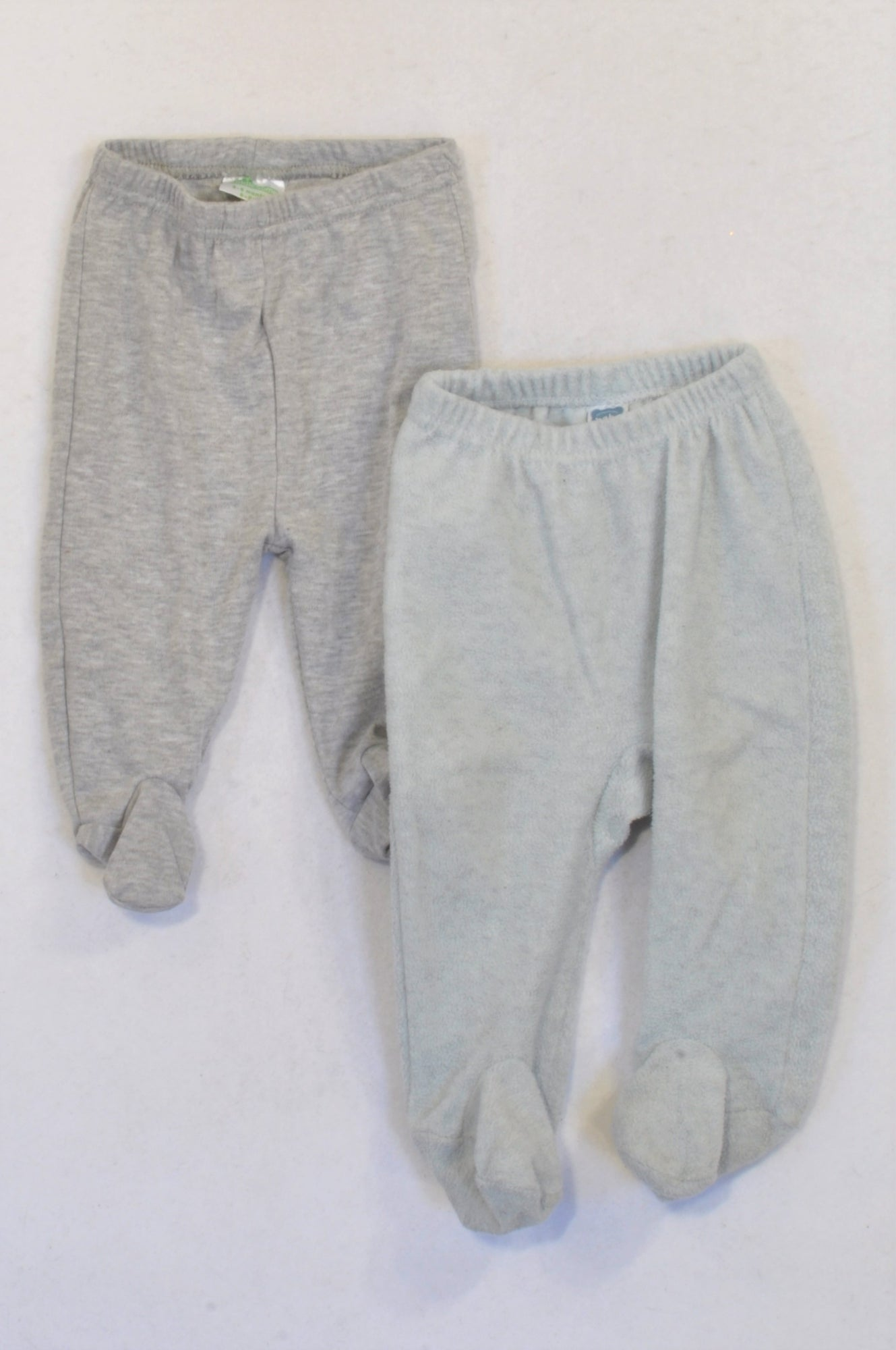 Pep 2 Pack Grey Fleece & Non Fleece Leggings Unisex 0-3 months
