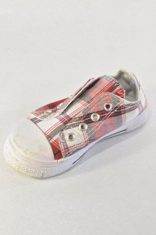 Red Plaid Slip On Shoes Unisex 2-3 years