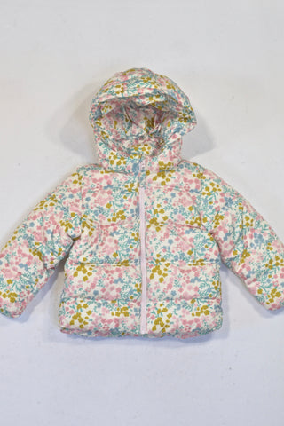 New H&M Floral Hooded Puffer Jacket Girls 12-18 months