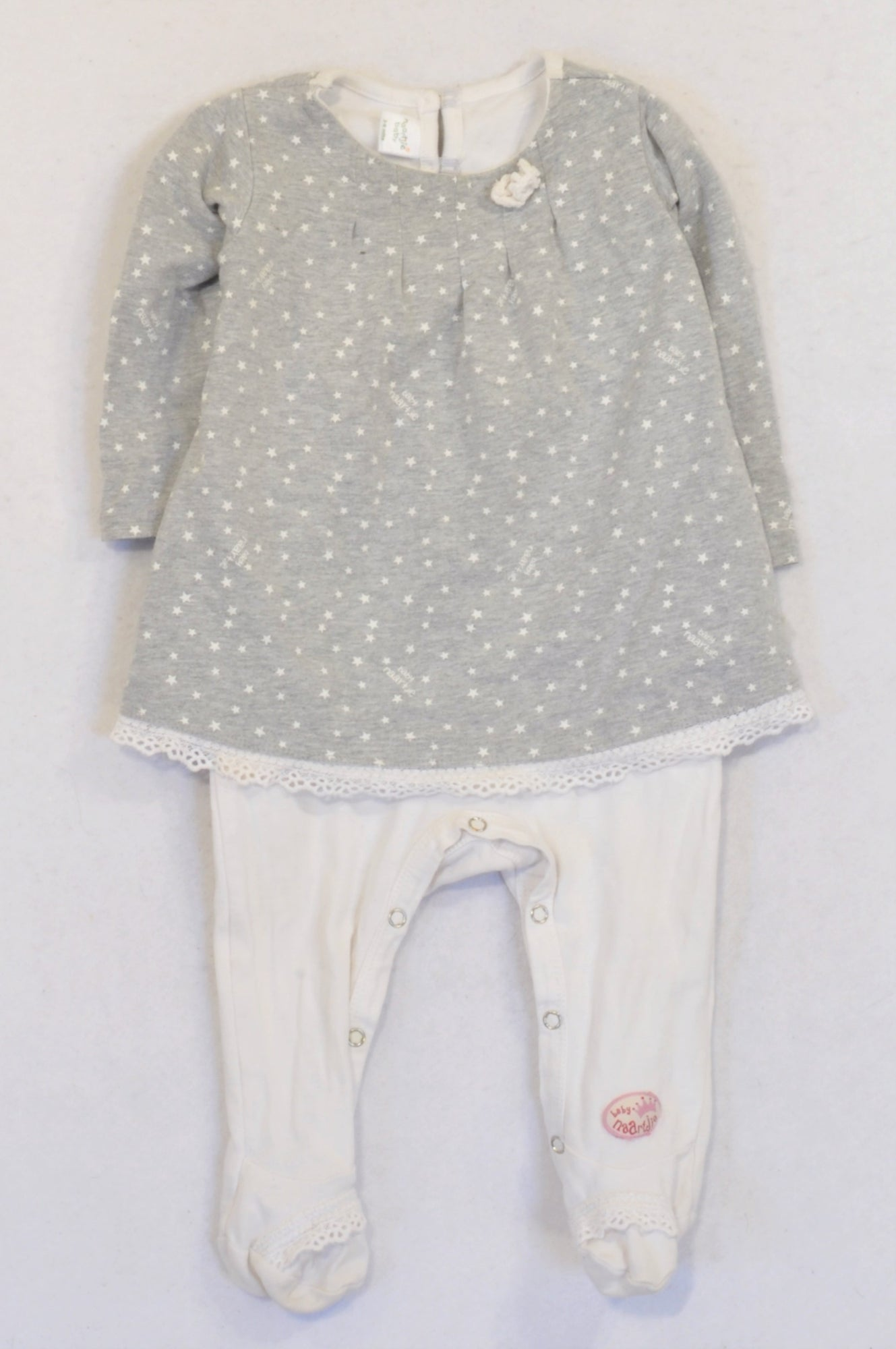 Naartjie Grey & White Star Dress Onesie Girls 3-6 months