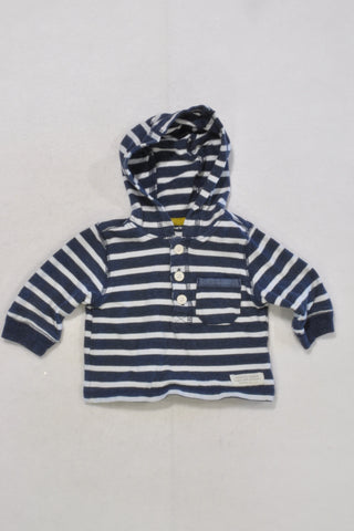 Carters Blue and White Stripe Half Button Hoodie Boys 0-3 months