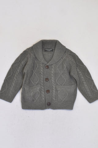 New Sticky Fudge Charcoal Cable Knit Cardigan Unisex 12-18 months