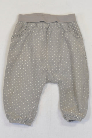 H&M Lined Grey Dotty Corduroy Harem Pants Girls 9-12 months