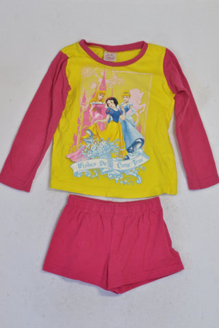 KDS Pink & Yellow Princess Top & Shorts Pyjamas Girls 2-3 years