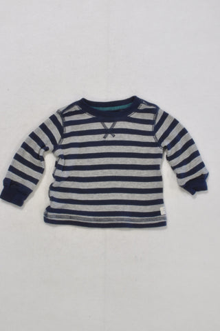 Carters Blue and Grey Stripe Henley Long-Sleeve T-Shirt Boys 0-3 months
