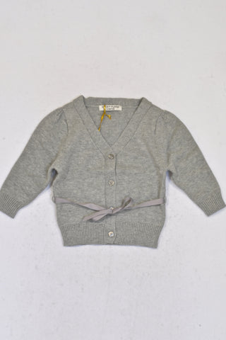 New Sticky Fudge Grey Ribbon Cardigan Girls 3-6 months