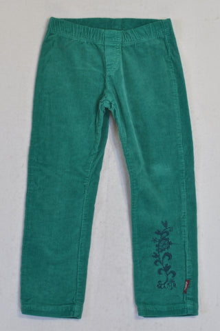 Naartjie Teal Embroidered Stretch Corduroy Pants Girls 2-3 years