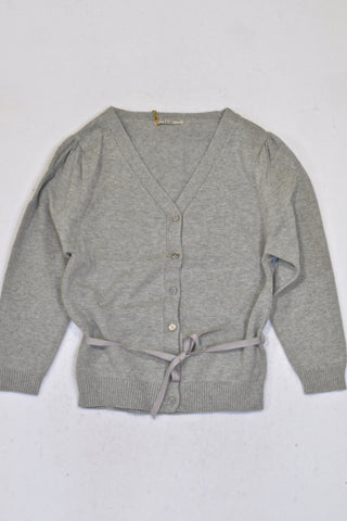 New Sticky Fudge Grey Ribbon Cardigan Girls 6-8 years