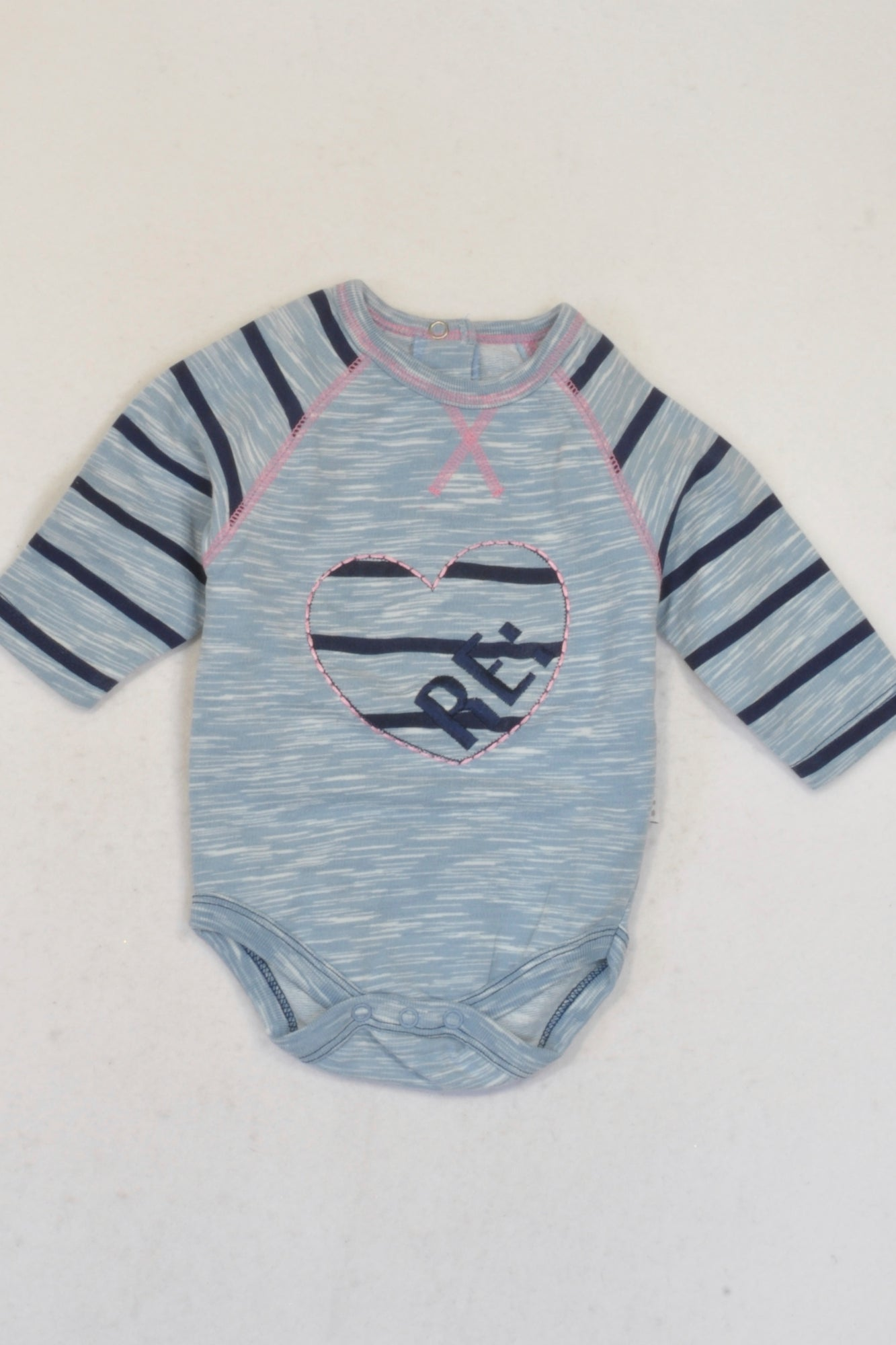 Woolworths Blue & Navy Heart Baby Grow Girls 0 3 months – ce More