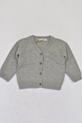 New Sticky Fudge Grey Button Cardigan Unisex 6-12 months