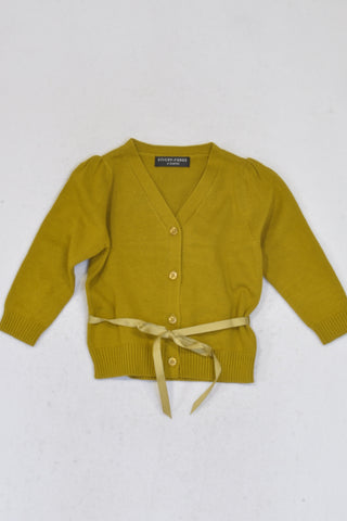 New Sticky Fudge Mustard Ribbon Cardigan Girls 18-24 months