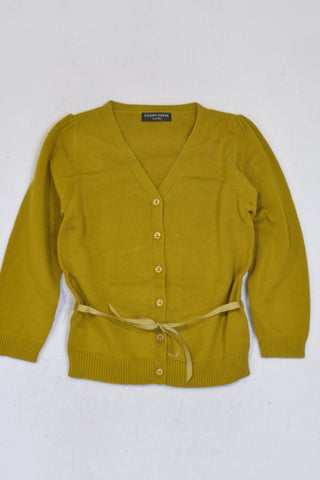 New Sticky Fudge Mustard Ribbon Cardigan Girls 4-5 years