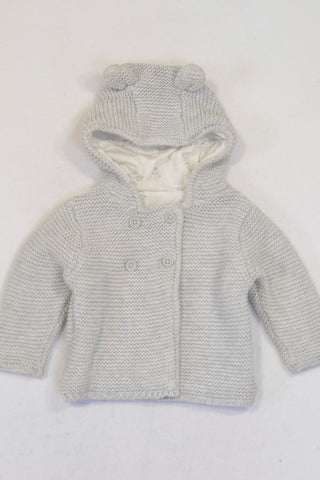 Marks & Spencer Grey Knit Hooded Jersey Girls 3-6 months