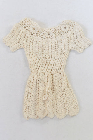 Beige Crochet Dress Girls 0-3 months