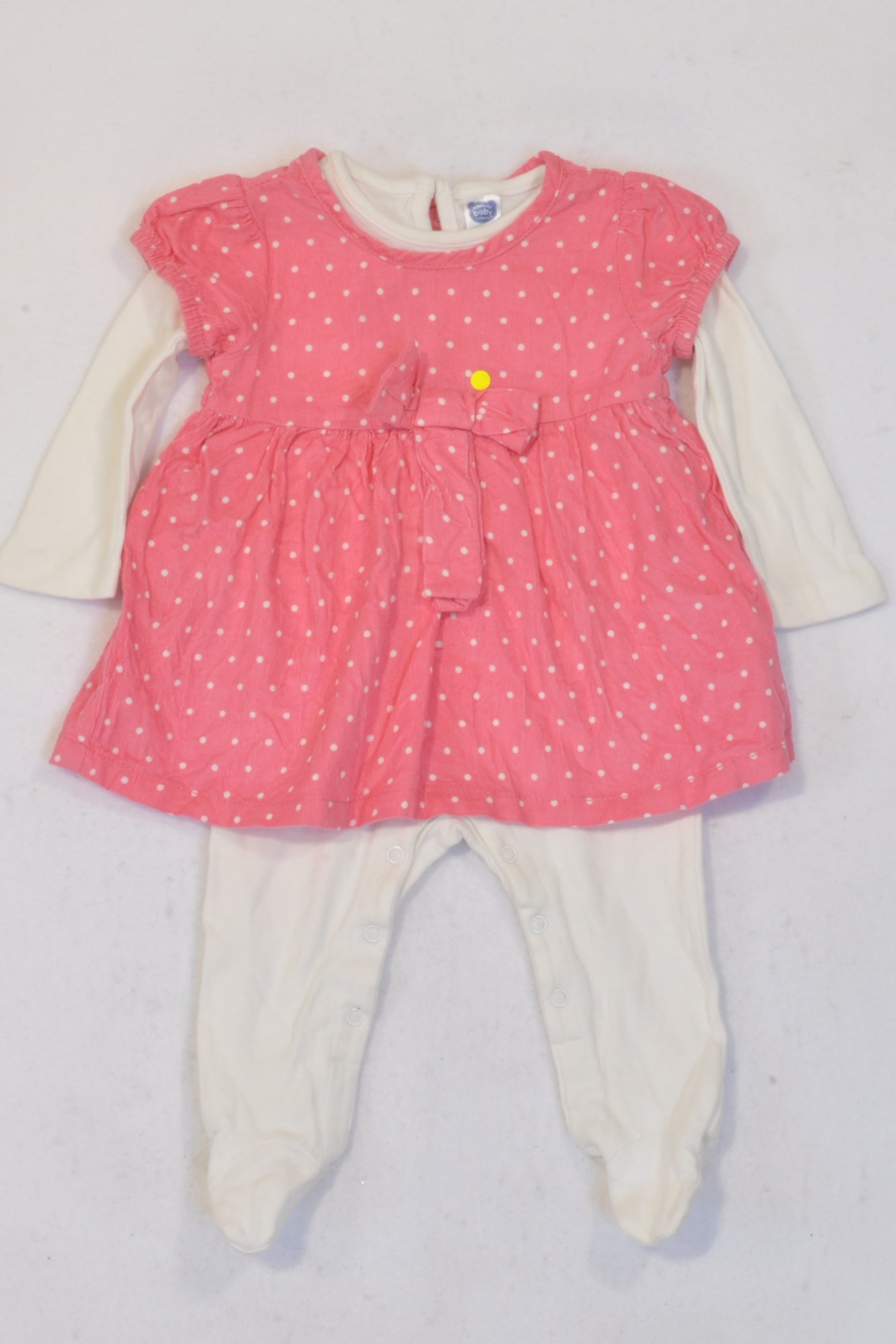 Ackermans Pink Dotty Corduroy Dress & Onesie Outfit Girls 3-6 months