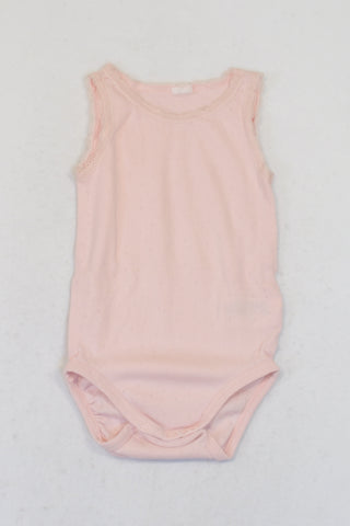 H&M Soft Pink Lace Trim Tank Baby Grow Girls 9-12 months