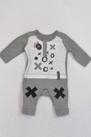 Woolworths Grey Noughts & Crosses Onesie Boys N-B