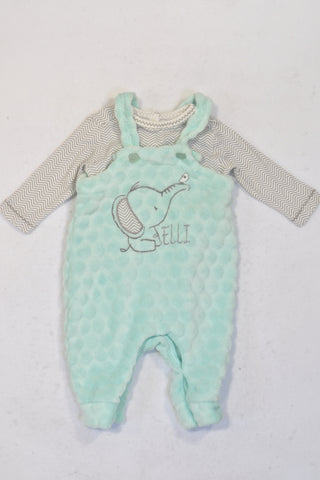 Woolworths Mint Soft Fleece Winter Dungaree Outfit Boys 0-3 months