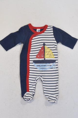 Ackermans Navy Striped Boat Onesie Boys N-B