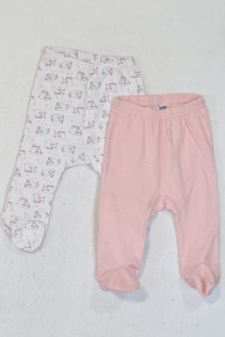 Ackermans 2 Pack White & Pink Sheep Leggings Girls 3-6 months