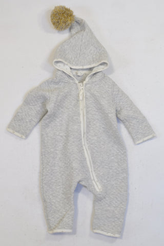 H&M Grey Quilt Pixie Pom Pom Hooded Onesie Unisex 2-4 years