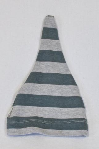 New Sticky Fudge Teal & Grey Stripe Beanie Unisex 3 months to 1-year