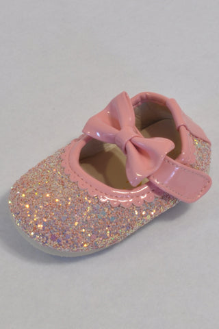 New 2 of 2 Rose Pink Size 3 Sparkly Velcro Bow Shoes Girls 9-12 months