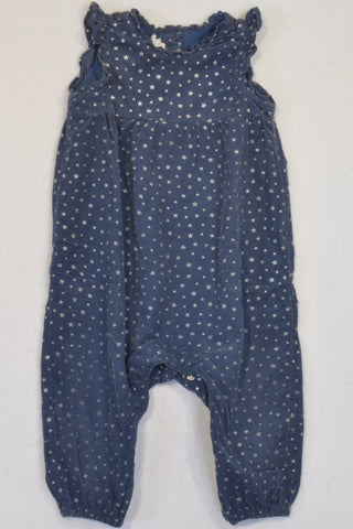 H&M Navy Blue Corduroy Star Romper Girls 12-18 months