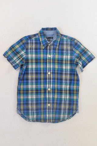GAP Blue Plaid Collared Shirt Boys 4-5 years