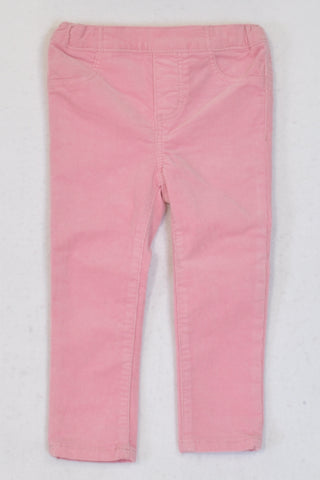 New H&M Pink Corduroy Skinny Leg Pants Girls 18-24 months
