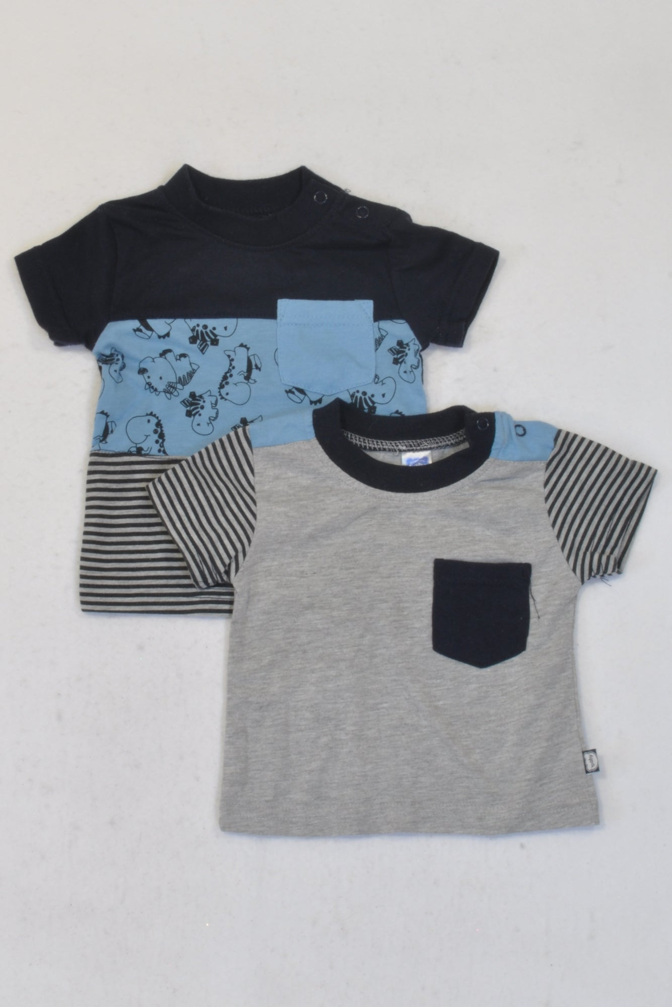 Ackermans 2 Pack Navy & Grey Dino T-Shirts Boys 0-3 months
