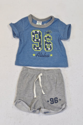Pick 'n Pay Blue Aloha T-shirt & Shorts Outfit Boys 0-3 months