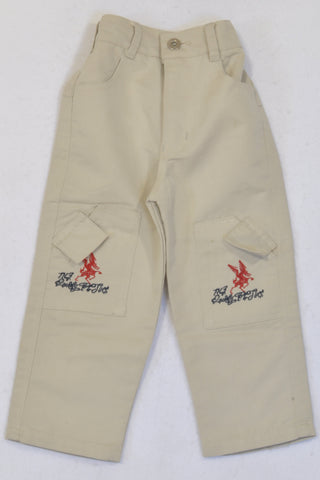 New Beige Dragon Pants Boys 2-3 years