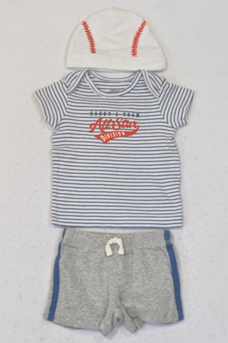 Carter's Blue & Grey All Star Division Baseball Outfit Boys 0-3 months