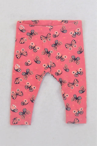 Gymboree Pink Butterfly Leggings Girls 3-6 months