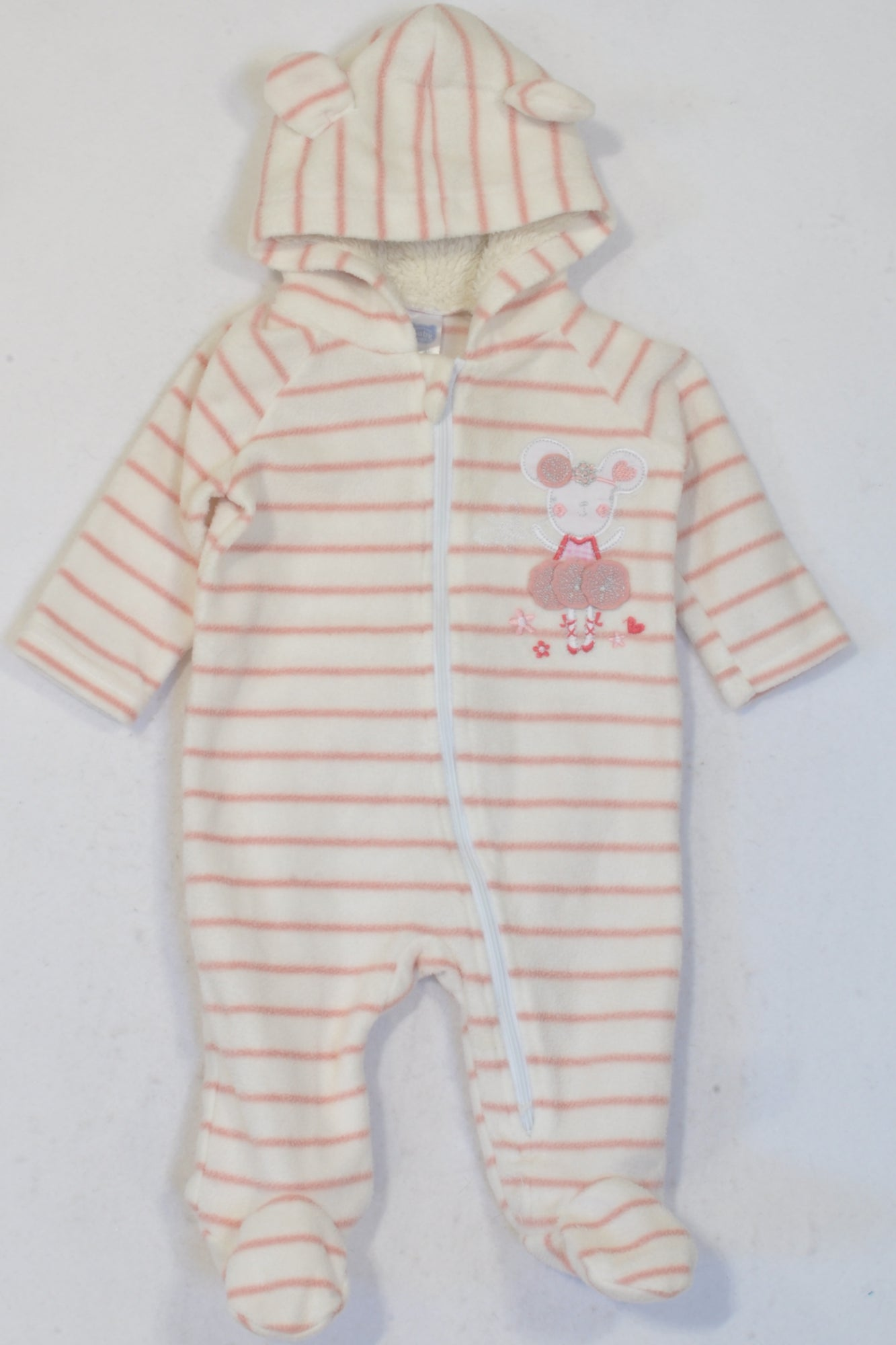 Ackermans Ivory & Pink Striped Hooded Mouse Fleece Onesie Girls 0-3 months