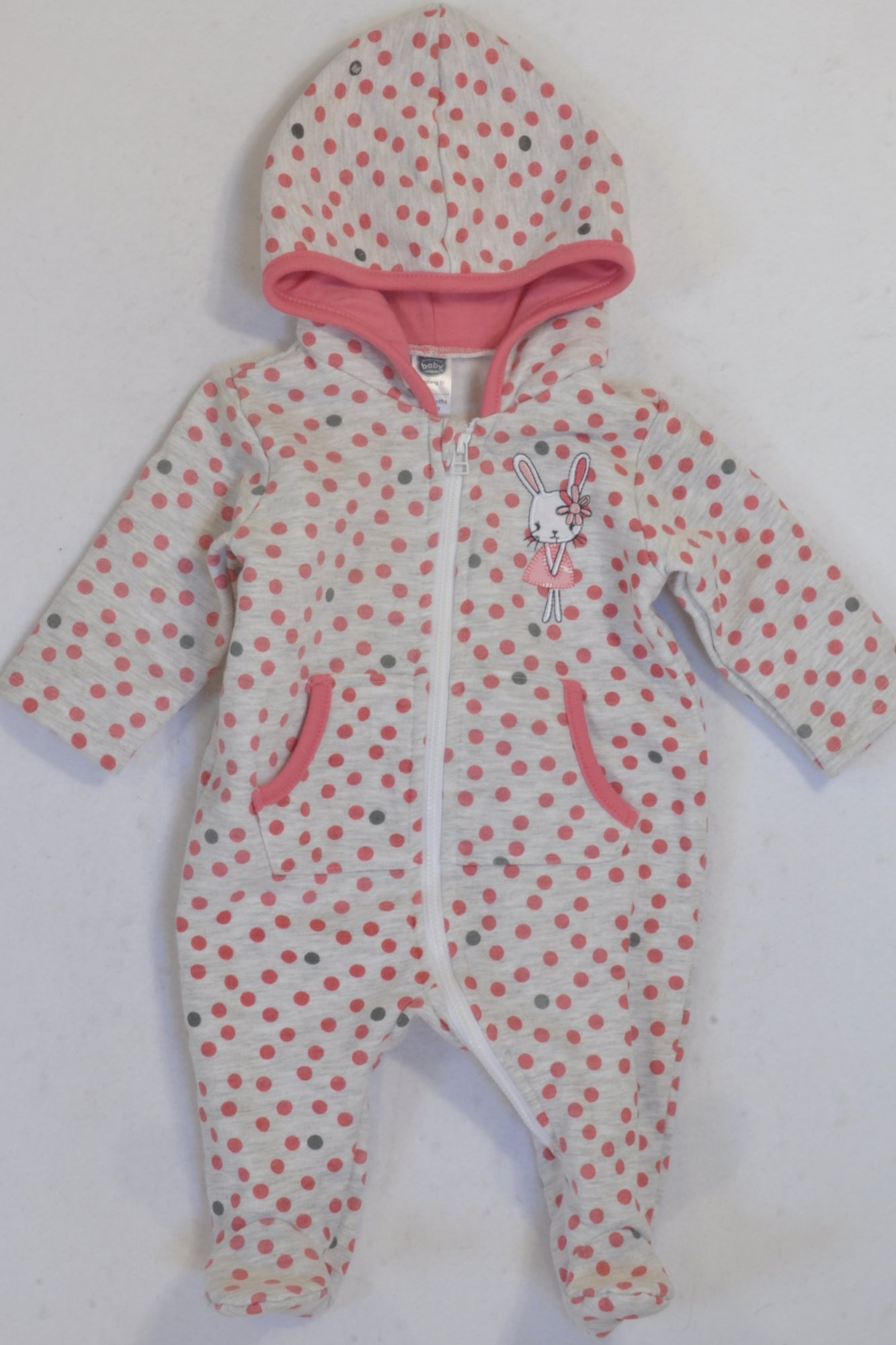 Ackermans Thick Grey & Pink Dotty Hooded Onesie Girls 0-3 months