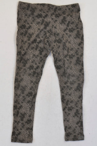 Lizzy Grey & Black Floral Leggings Girls 6-7 years