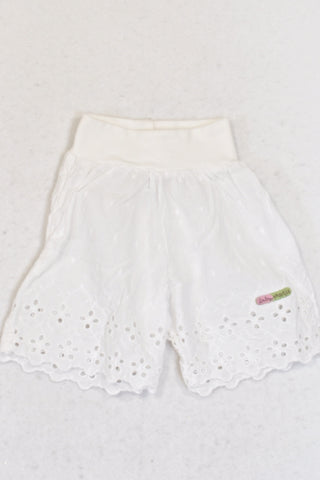 Naartjie White Banded Eyelet Trim Pants Girls N-B