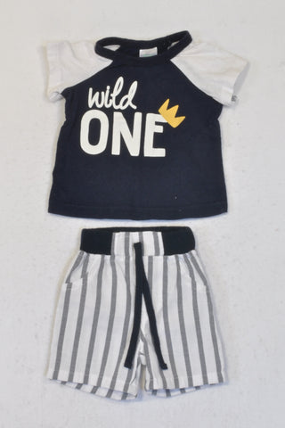 Pick 'n Pay Navy Wild One T-shirt & Shorts Outfit Boys 0-3 months