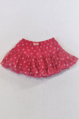 Naartjie Cerise Dotted Tulle Skirt Girls 6-12 months