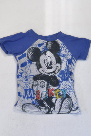 Disney Blue Mickey Mouse Mesh T-shirt Boys 3-4 years